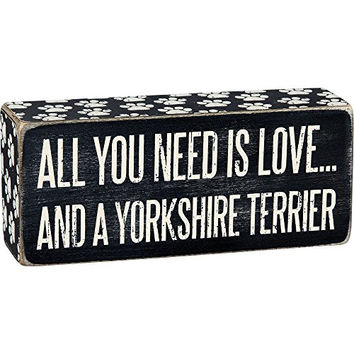 All You Need Is Love... And A ... Mini Wood Box Sign - Black & White for wall hanging, table or desk 6-in x 2-in (Yorkshire)