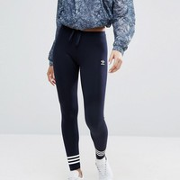 adidas Originals London Navy Leggings With Three Stripe Cuff at asos.com
