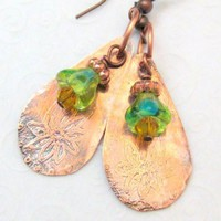Copper Earrings Flower Etched Teardrops with Green Blue Gold Flower Handmade Earrings by silverriverjewelry