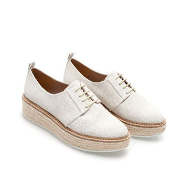 BLUCHER WITH RAFFIA PLATFORM - Shoes - Woman | ZARA United States