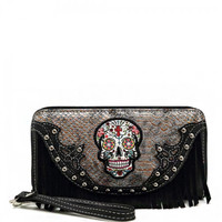 Sugar Skull Double Wristlet Wallet