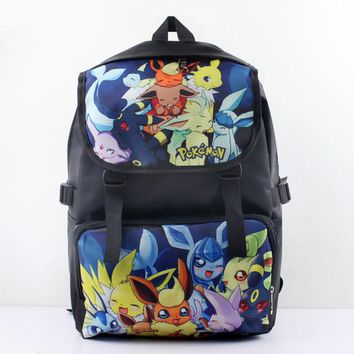 Anime Pokeman Eevee Nylon Waterproof Laptop Backpack/Double-Shoulder Bag/School Bag