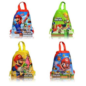 Super Mario party nes switch 24pcs small  bros theme birthday party gifts non-woven drawstring goodie bags kids favor swimming school backpacks AT_80_8