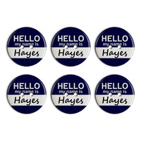 Hayes Hello My Name Is Plastic Resin Button Set of 6