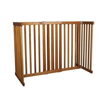 Dynamic Accents Indoor Free Standing Pet Gate / Safety Barrier - Small Tall / Mahogany