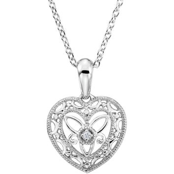 Sterling Silver Diamond Heart Filigree Necklace
