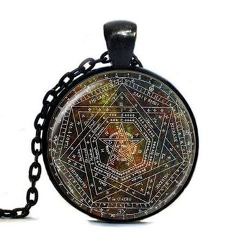Sigil of Ameth Tag,Vintage Pentagram Tag Sacred Geometry Jewelry Glass Dome Tag Occult Wiccan Tag