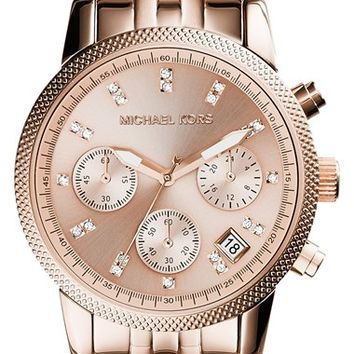 Women's Michael Kors 'The Ritz' Chronograph Bracelet Watch, 36mm - Rose Gold