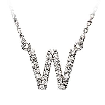 1/6 Cttw Diamond & 14k White Gold Block Initial Necklace, Letter W