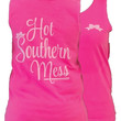 Southern Couture Hot Southern Mess Bow Pink Girlie Bright Tank Top Shirt