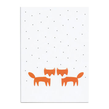 Fox Cubs in the Snow Greeting Card - foxes love valentines day Christmas birthday new baby wedding engagement thank you white black orange
