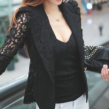 Floral Pattern Lace Long Sleeve Lapel Blazer