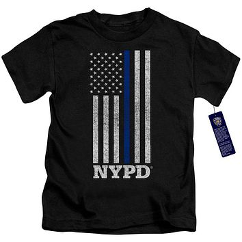 NYPD Boys T-Shirt Thin Blue Line American Flag Black Tee