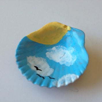 Hand Painted Shell, Birds, sky, sunshine, original painting