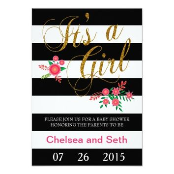 Elegant Black and White Stripes With Pink Floral 3.5x5 Paper Invitation Card