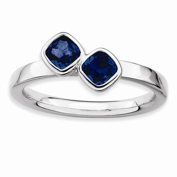 Sterling Silver Stackable Expressions Db Cushion Cut Simulated Sapphire Ring