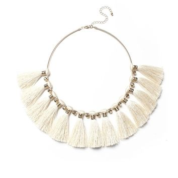 Tassel Fringe Bib Statement Necklace - Cream