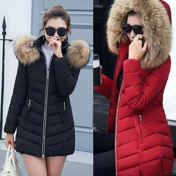 Winter Women Jacket Fashion Long Thick Warm Down Cotton Jacket Women High Quality Fake Fur Collar Slim Coat Overcoat Parka