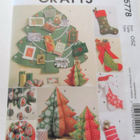 New McCalls craft pattern Christmas stockings tree ornaments holiday decor