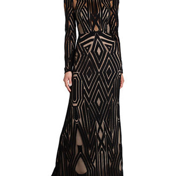 Bcbgmaxazria Veira Long Sleeve Engineered Lace Gown