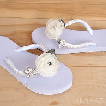 jewel white bridal hawaiian flip flops