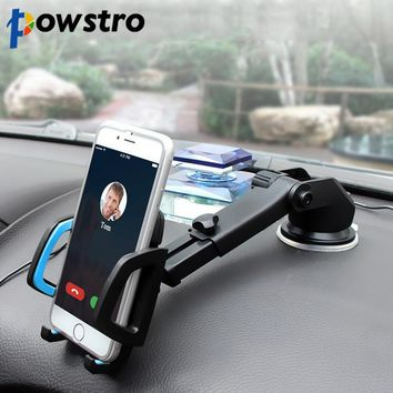 Powstro Universal automobile air outlet suction cup type multifunctional telescopic rod rotary mobile phone support for Iphone