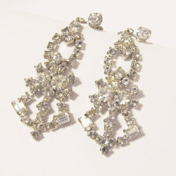 Vintage Rhinestone Chandelier Dangle Earrings, Bridal Earrings, Crystal Earrings, Wedding, Gatsby, Downton Abbey, Art Deco