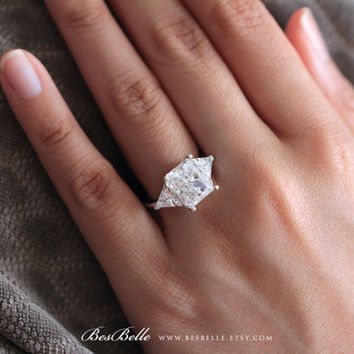 6.0 ct.tw Trillion Engagement Ring-Radiant & Triangle Cut Diamond Simulant-Bridal Ring-Wedding Ring-Promise Ring-Sterling Silver [8420B]