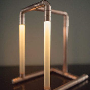 Copper LED Pipe Lamp • The Felix • Copper Pipe • Desk Lamp • Accent Lighting • Pipe Light • LED Jewelry Stand