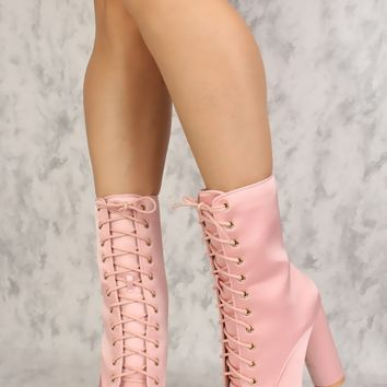 Sexy Pink Lace Up Pointy Toe Chunky Heel Booties Satin
