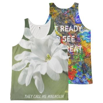 White Magnolia Flower All-Over Print Tank Top