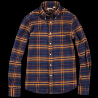 UNIONMADE - New England Shirt Company - Brushed Cotton Button Down in Navy and Red Plaid