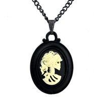 Black Frame Lolita Skeleton Cameo Necklace Elegant Goth Pendant