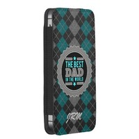 Argyle in Aqua, Black and Gray Monogrammed iPhone 5 Pouch