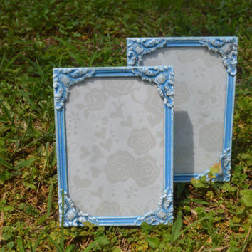 Blue & White Picture Frames Set of 2