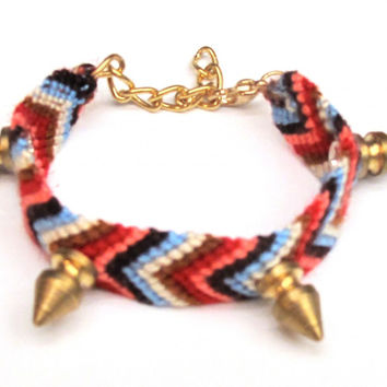 Spiked Red Friendship Bracelet