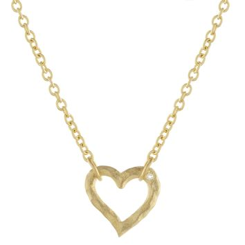 Gold Over Sterling Silver Small Diamond Accent Heart Necklace
