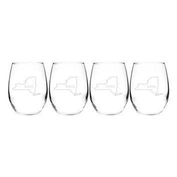 Cathy's Concepts 'Home State' Stemless Wine Glasses - White (Set of 4)