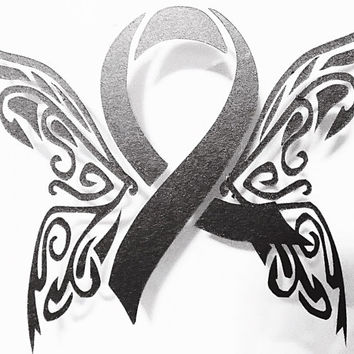 Car Window Decal Vinyl Decal - Butterfly  - Cancer Ribbon - Awareness Ribbon - Cancer Awareness Ribbon - Awareness Ribbon Decal