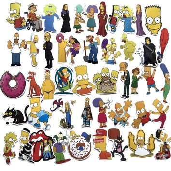 50pc The Simpsons toys Figures Movie Posters Stickers Bomb Set Scrapbooking Travel Diary Notebook Auto Sticker Laptop Bike Moto