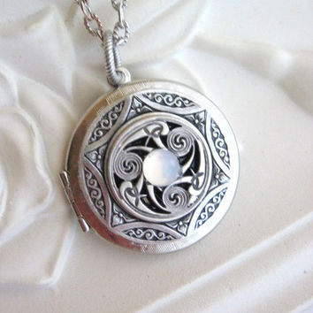 Triskele, LOCKET, Silver Locket Necklace,Celtic Pendant,Moonstone Locket,Lockets,Celtic Jewelry,Pagan Jewelry,Celtic Necklace,Irish Jewelry,