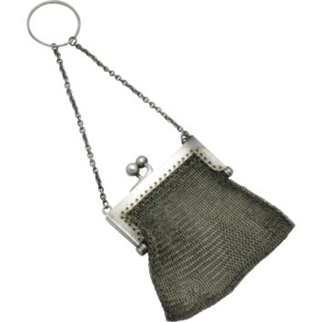 Antique Chatelaine LOUIS STERN Sterling Silver Mesh Coin Purse
