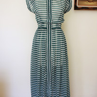 Vintage 1940s Sheer Striped Dress, Henry Rosenfeld Dress