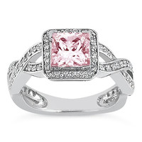 Sparkling 2.01 carats princess pink halo diamond anniversary ring white gold