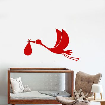 Vinyl Wall Decal Stork With Baby Cartoon Bird Nursery Room Stickers (2746ig)
