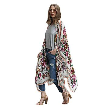 Fashion Women Floral Print Kimono Cardigan Summer Asymmetric Long Boho Top Blusas Plus Size Elegant Womens Blouses And Tops