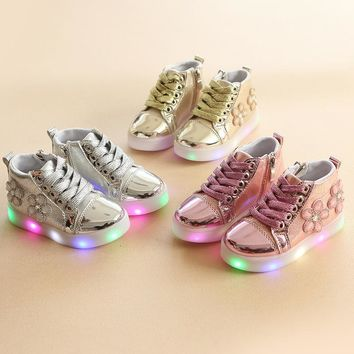 New 2018 hot sales cool LED lighted kids sneakers high quality funny design children shoes cute baby girls boys shoes boots