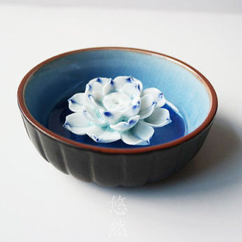 Ceramic Pottery ~ Incense Burner / Home Decor ~ Rustic Ceramic Art ~ Flower + Bowl # Blue