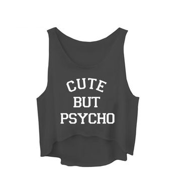 Cute But Psycho Printed Tank Tops - Ladies Novelty  Crop Tops