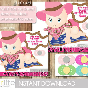 Baby Shower Game - Baby Cowgirl, Western theme - Pin the PACI on the Baby Game - Instant Download - PRINTABLE PDF Files - Diy - You Print